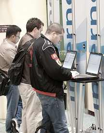 Checking email at the internet kiosks